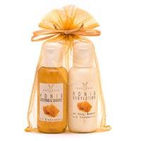Geschenkset: Honig Duschbad & Shampoo und Bodylotion im Organzabeutel