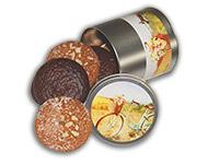 Runde Lebkuchendose, gefüllt mit Elisen-Lebkuchen
