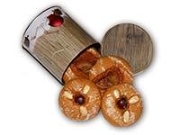Lebkuchendose für Weihnachten, gefüllt mit Lebkuchen-Radln