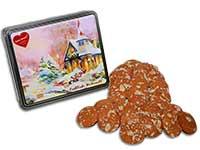 Weihnachtliche Lebkuchendose mit Kirchenmotiv