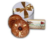 Schleifendose mit Lebkuchen-Radln und Lebkuchen-Schokolade